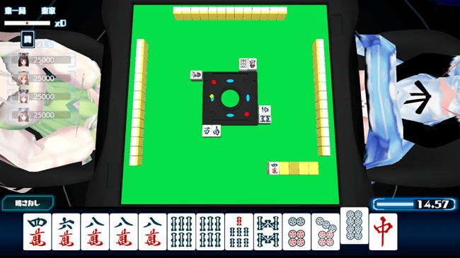 麻雀ゲームアプリSQUARE ONLINEのプレイ画面