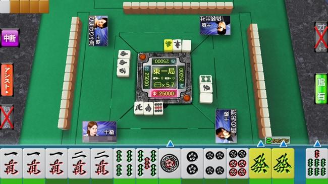 麻雀ゲームアプリ・セガNET麻雀 MJ モバイル版のプレイ画面