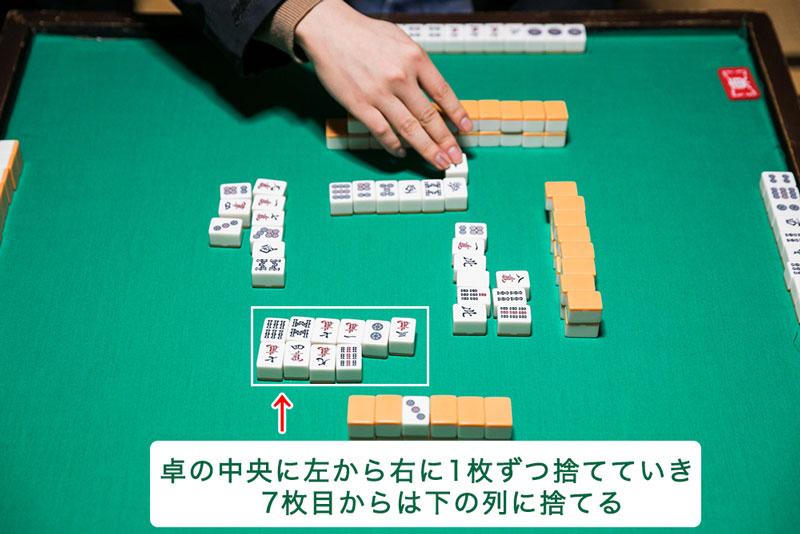 麻雀の牌を捨てる場所